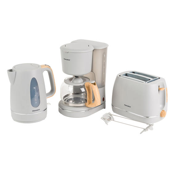 Progress Scandi Breakfast Appliance Set with 2-Slice Toaster, Coffee Maker and Jug Kettle, Grey