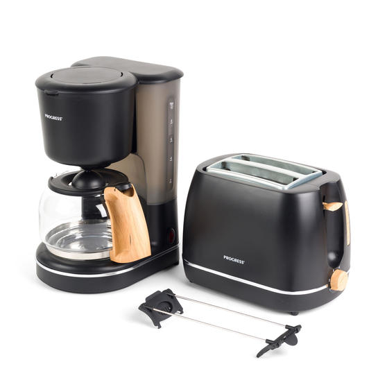 Progress COMBO-5153 Scandi Breakfast Appliance Set with 2-Slice Toaster and Coffee Maker, 870/1080 W, Black