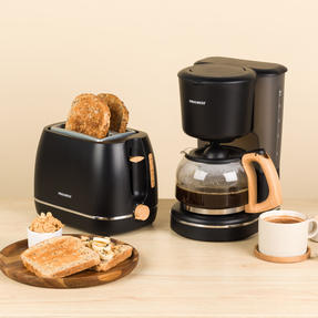 Progress COMBO-5153 Scandi Breakfast Appliance Set with 2-Slice Toaster and Coffee Maker, 870/1080 W, Black Thumbnail 2
