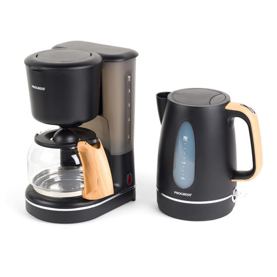 Progress Scandi Breakfast Appliance Set with Jug Kettle and Coffee Maker, 3000/1080 W, Black