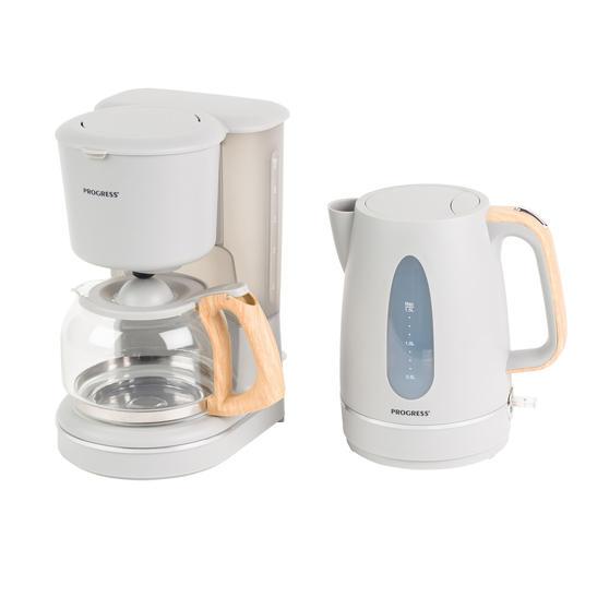 Progress Scandi Breakfast Appliance Set with 2-Slice Toaster and Jug Kettle, 870/3000 W, Grey