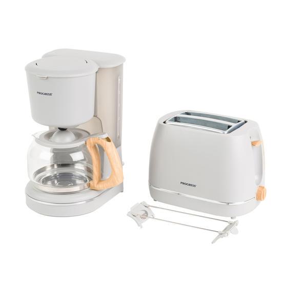 Progress COMBO-5156 Scandi Breakfast Appliance Set with 2-Slice Toaster and Coffee Maker, 870/1080 W, Grey