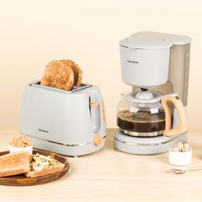 Progress COMBO-5156 Scandi Breakfast Appliance Set with 2-Slice Toaster and Coffee Maker, 870/1080 W, Grey Thumbnail 2