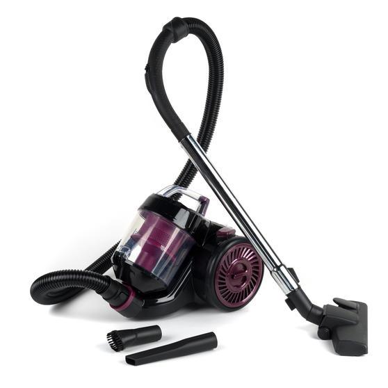 Kleeneze KL0700 Compact Cylinder Vacuum Cleaner, Black/Plum