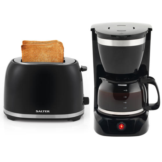 Salter COMBO-5598 Deco Collection 2 Slice Toaster and Drip Coffee Maker with Keep Warm Function, 850/800 W, Black/Stainless Steel