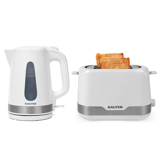 Salter COMBO-4748 Deco Collection 1.7L Kettle and 2 Slice Cool Touch Toaster Set, 3000/850 W, White/Stainless Steel
