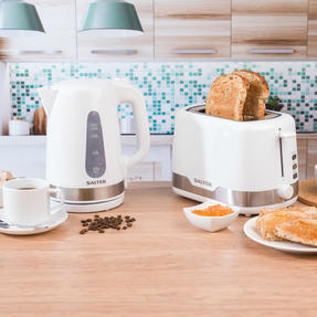 Salter COMBO-4748 Deco Collection 1.7L Kettle and 2 Slice Cool Touch Toaster Set, 3000/850 W, White/Stainless Steel Thumbnail 2