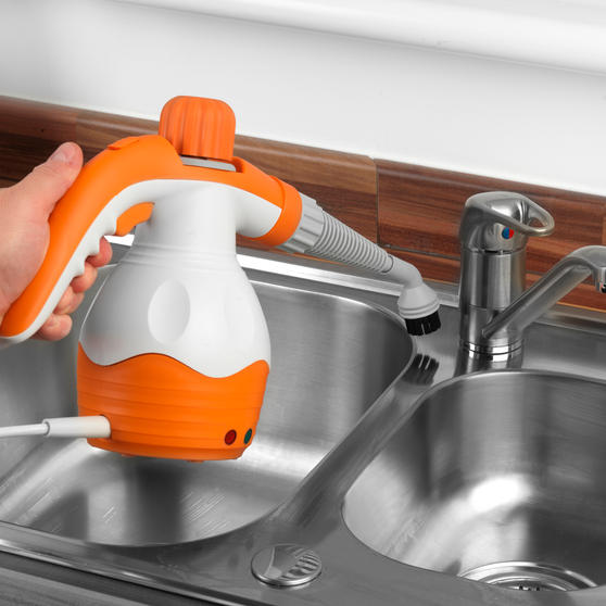 Beldray BEL0573FSFOB 10 in 1 Handheld Steam Cleaner, 1100 W, Orange/White Thumbnail 8