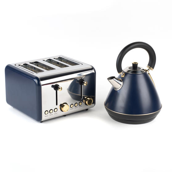 Salter COMBO-4768 1.7 Litre Pyramid Kettle with 4-Slice Toaster, Navy/Gold