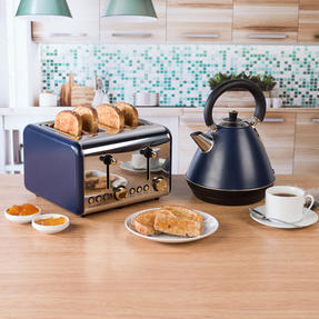 Salter COMBO-4768 1.7 Litre Pyramid Kettle with 4-Slice Toaster, Navy/Gold Thumbnail 3