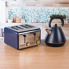 Salter COMBO-4768 1.7 Litre Pyramid Kettle with 4-Slice Toaster, Navy/Gold Thumbnail 4