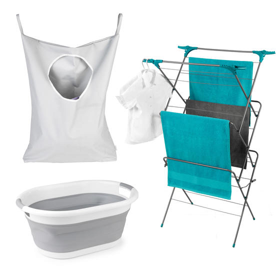 Beldray Three-Tier Elegant Clothes Airer with Overdoor Laundry Hamper & Collapsible Laundry Basket