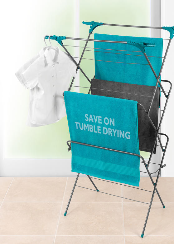 Beldray Three-Tier Elegant Clothes Airer with Overdoor Laundry Hamper & Collapsible Laundry Basket Thumbnail 2