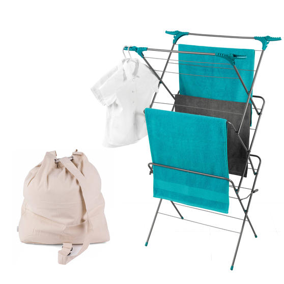 Beldray Three-Tier Elegant Clothes Airer with Oversized Laundry Canvas Backpack