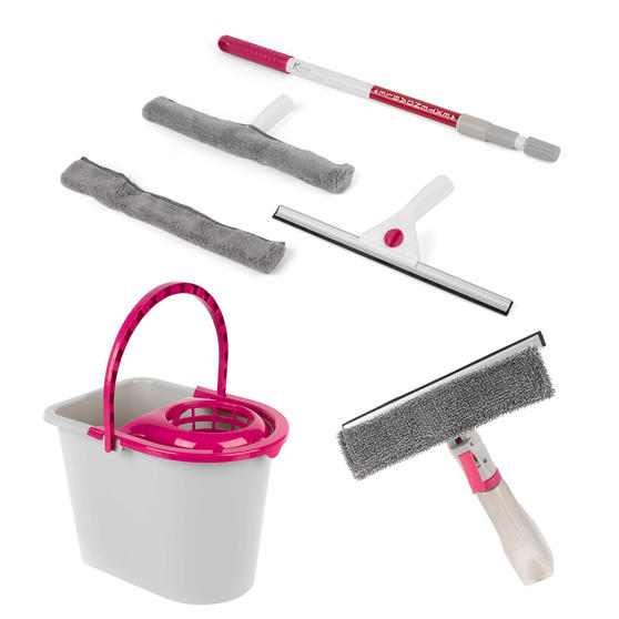 Kleeneze Spray Window Wiper, 2 in 1 Microfibre Window Cleaning Set and 14 Litre Bucket, Pink/Grey