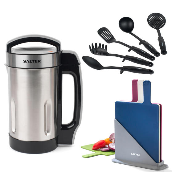 Salter COMBO-5661 Go Healthy Electric Soup Maker with Nylon Utensils and Chopping Boards, 1.6 Litre, 1050 W