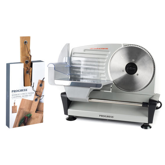 Progress COMBO-5663 Stainless Steel Electric Food Slicer with Three-Piece Paddle Chopping or Serving Boards, 150 W | Great For Roasted Meats, Cheese and Bread