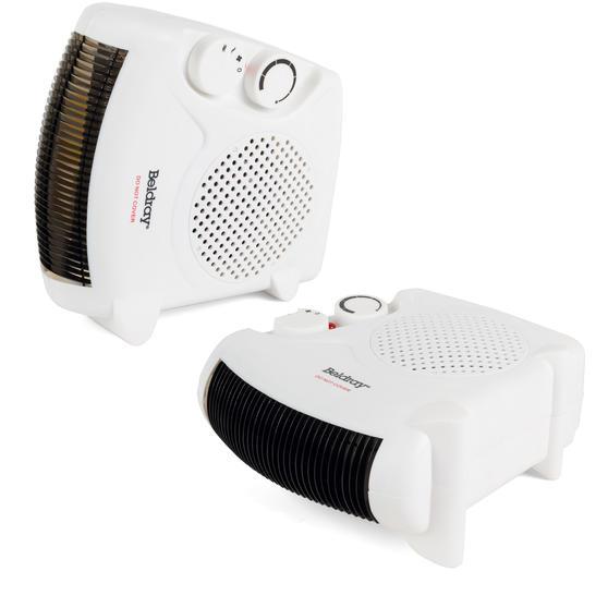 Beldray Flat Fan Heater, 1000/2000 W Settings, White, Set of 2