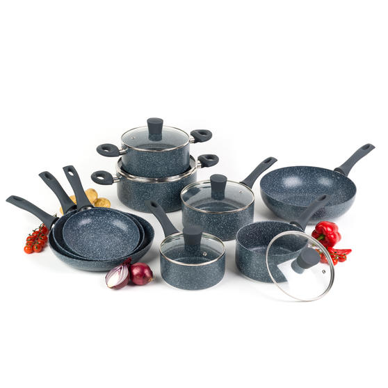 Russell Hobbs COMBO-4836A Blue Marble Non-Stick Complete Cookware Set, 9 Piece