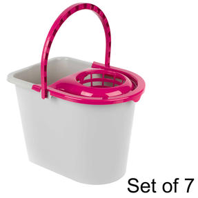 Kleeneze Bucket With Mop Wringer And Carry Handle, 14 L, Plastic, Grey/Pink, Set of 7