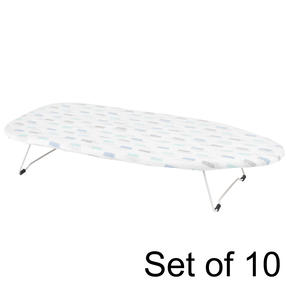 Kleeneze Table Top Ironing Board With Cotton Cover, 73 x 31 cm, Elise Print | Set of 10