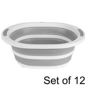 Kleeneze Collapsible Washing Up Bowl, White/Grey, Set of 12
