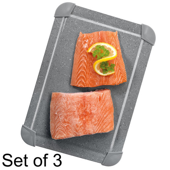 Salter COMBO-5820 Marblestone Non-Stick Quick Thaw Defrosting Tray, Aluminium, Grey, Set of 3 | No Electricity, Microwave or Hot Water Required