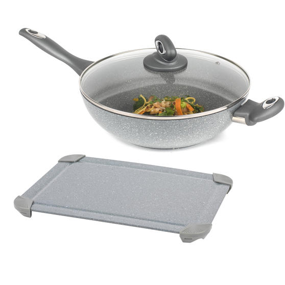 Salter COMBO-5823 Marblestone Forged Aluminium Non-Stick 28 cm Wok with Defrosting Tray, Grey | No Electricity, Microwave or Hot Water Required for Defrosting