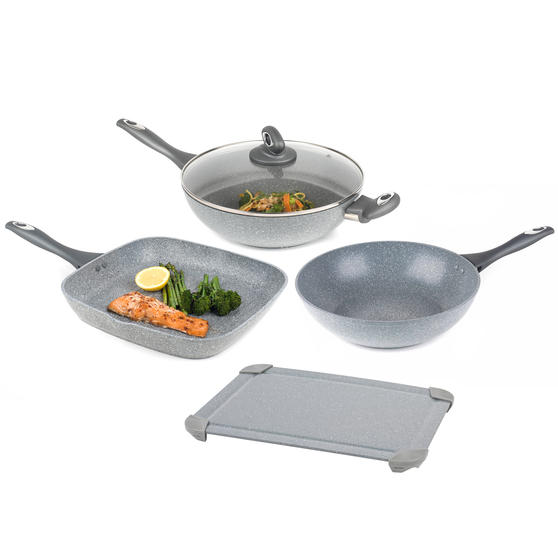 Salter COMBO-5825 Marble Collection Non-Stick 28 cm Griddle Pan, Wok and Stir Fry Pan with Defrosting Tray, Grey | No Electricity, Microwave or Hot Water Required for Defrosting