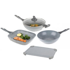 Salter COMBO-5825 Marble Collection Non-Stick 28 cm Griddle Pan, Wok and Stir Fry Pan with Defrosting Tray, Grey | No Electricity, Microwave or Hot Water Required for Defrosting Thumbnail 1