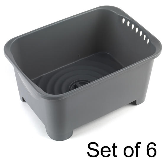 Beldray COMBO-5754 Washing Up Bowl with Drainer, Grey, Set Of 6