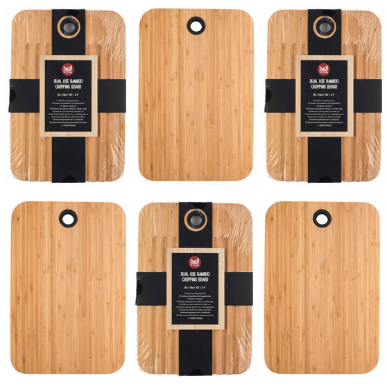 Sambonet COMBO-5867 Bamboo Dual-Use Chopping Board with Hanging Hook, 36 cm x 24 cm, Set of 6
