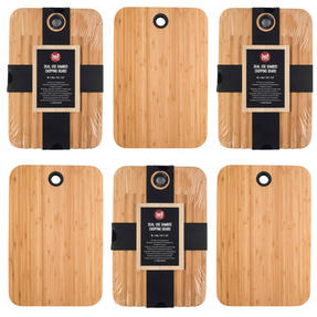 Sambonet COMBO-5867 Bamboo Dual-Use Chopping Board with Hanging Hook, 36 cm x 24 cm, Set of 6 Thumbnail 1