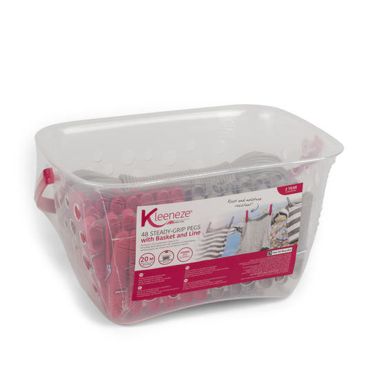 Kleeneze 20 m Peg Line and Basket with 48 Pegs, Grey and Pink