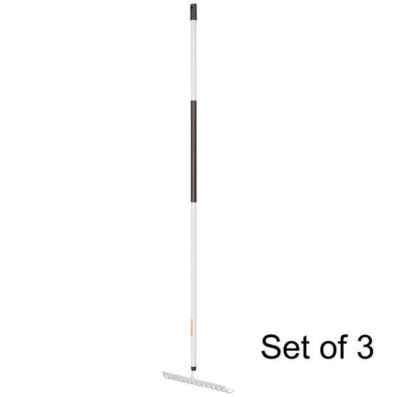 Fiskars COMBO-5831 Light Soil Rake with Hardened Steel Tines, Aluminium Handle, Black/White, Set Of 3