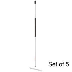 Fiskars COMBO-5832 Light Soil Rake with Hardened Steel Tines, Aluminium Handle, Black/White, Set Of 5