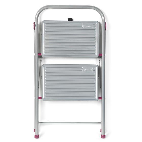 Kleeneze KL068491EU 2-Step Folding DIY Stepladder, 80cm, Pink/Grey, 150kg Capacity
