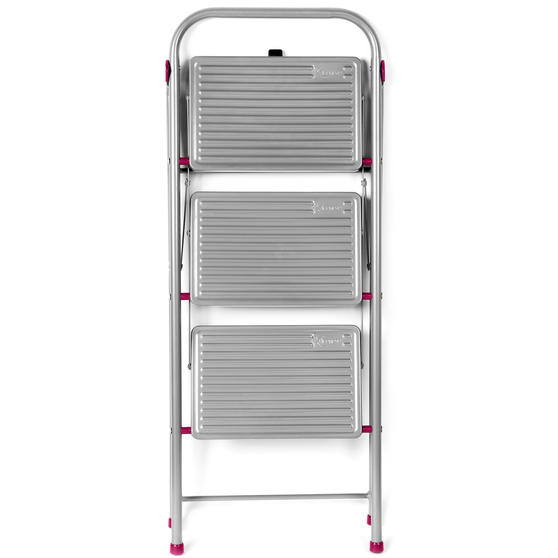Kleeneze 3-Step Folding DIY Stepladder, 105cm, Pink/Grey, 180kg Capacity