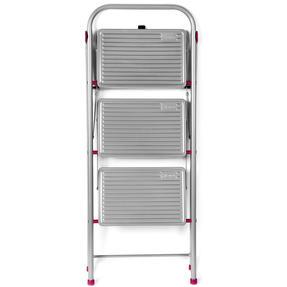 Kleeneze KL068514EU 3-Step Folding DIY Stepladder, 105cm, Pink/Grey, 150kg Capacity Thumbnail 1
