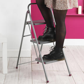 Kleeneze KL068514EU 3-Step Folding DIY Stepladder, 105cm, Pink/Grey, 150kg Capacity Thumbnail 4