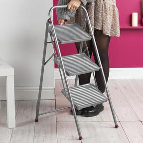 Kleeneze KL068514EU 3-Step Folding DIY Stepladder, 105cm, Pink/Grey, 150kg Capacity Thumbnail 5