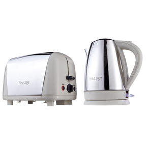 Prestige 53233 Cordless 1.7L Kettle and 2-Slice Toaster, Stainless Steel and Almond