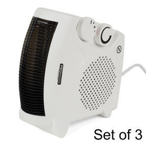 Prolectrix COMBO-5912 Portable Flat Fan Heater and Cooler, 2000 W, White, Set of 3