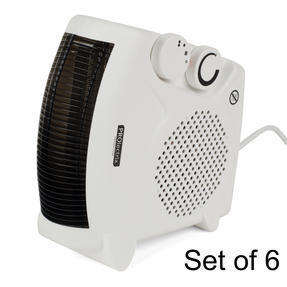 Prolectrix COMBO-5914 Portable Flat Fan Heater and Cooler, 2000 W, White, Set of 6
