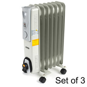 Prolectrix COMBO-5917 Portable 7 Fin Oil-Filled Radiator, 1500 W, White, Set of 3
