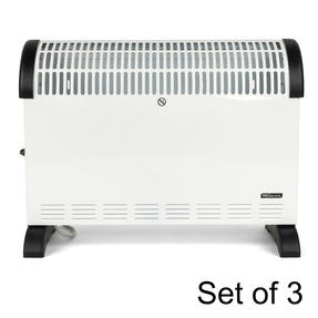 Prolectrix COMBO-5919 Electric Portable Convector Heater, 2000 W, White, Set of 3