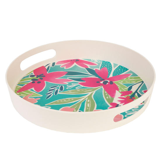 Cambridge CM06886 Evie Round Reusable Tray with Handles, 30 cm | Perfect for Serving Drinks at Parties