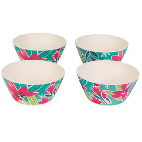 Cambridge CM06892 Eco Friendly Bamboo Dinnerware Bowls, Set of 4, Evie Print Thumbnail 1