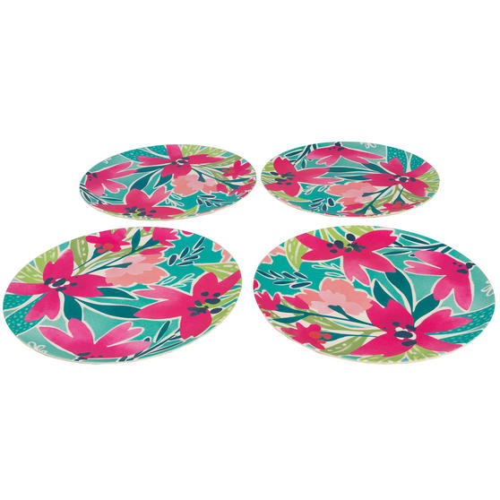 Cambridge CM06893 Reusable BPA Free Dinnerware 25 cm Plates, Set of 4, Evie