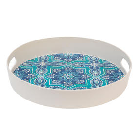 Cambridge CM06998 St Tropez Round Reusable Tray with Handles, 30 cm | Perfect for Serving Drinks at Parties Thumbnail 3